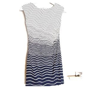 LOFT Dress Shirred Cap Sleeve Wave Dress Striped